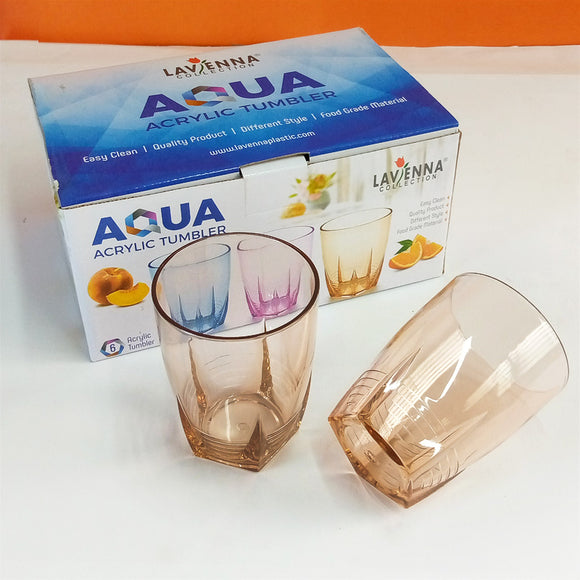Pack Of 6pcs Lavena Aqua Acrylic Plastic Regular Use 300ml Glass Set
