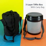 Appollo MAc Medium Size Tiffin Box With Carrying Bag (For One Person Serving)