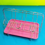 Stainless Steel Glass Stand With Self Drain Bottom Tray (Random Color)