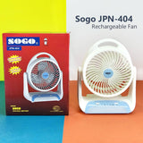 Sogo JPN-404 Portable Rechargeable Table Fan With LED Lamp Light