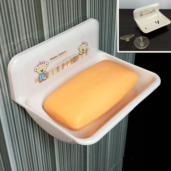 Sticky Suction Plastic Soap & Kitchen Sponge Storage Dish