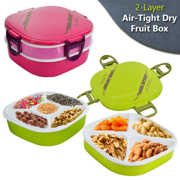 2-Layer Air Tight Plastic Dry Fruit Box With 4 Sided Lock