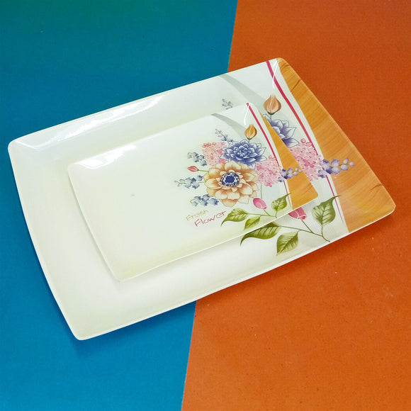 2pcs Melamine Plastic Small & Medium Size Tray Set