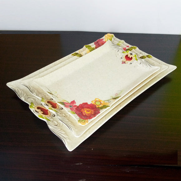 Orange 3pcs Melamine Heavy Plastic Tray Set