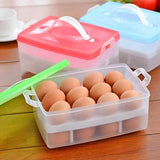 Egg Preservation 2-Layer Storage Fridge Box Container ( 24pcs Placement ) Random Colors