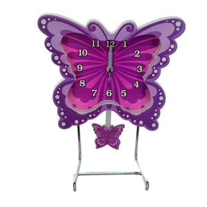 Butterfly Decor Pendulum Table Clock With Metal Stand