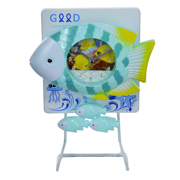 Fish Decor Pendulum Table Clock With Metal Stand