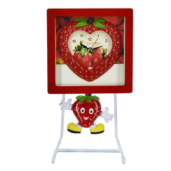 Heart Decor Pendulum Table Clock With Metal Stand