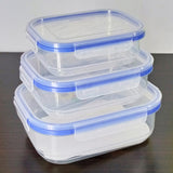 Bright Novetta Plastic Square Air-Tight 3pcs Bowl Food Container Set