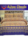 Ajwa Classic King Size Cotton Double Bedsheet With Two Pillow Covers