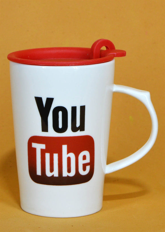 Youtube Ceramic Mug With Air Tight Plastic Lid