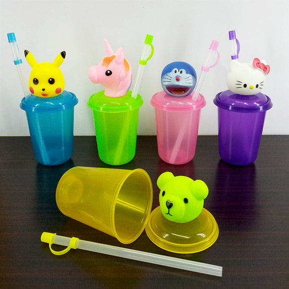 Character 300ml Juice & Drinking Plastic Glass With Cover & Straw ( Random Colors & Design )