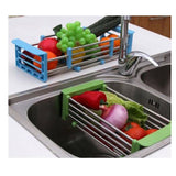 Telesco Stainless Steel Draining Basket With Extendable Length Fit For Kitchen Sink