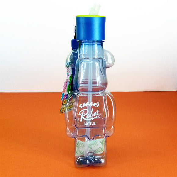 Safari Robot Style 550ml Transparent Plastic Water Bottle With Straw