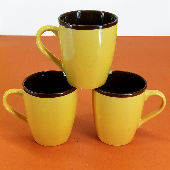 Pack Of 6 Medium Size Shiny Yellow Daily Use Ceramic Cups