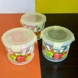 Pack Of 3pcs Master Transparent Plastic Jar Set With 4-Sided Locks ( Random Colors )