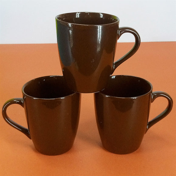 Pack Of 6pcs Medium Size Shiny Brown Daily Use Ceramic Cups