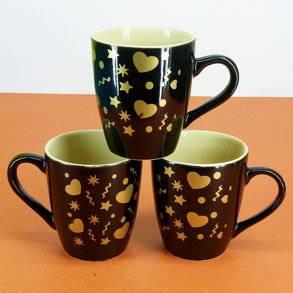 Pack Of 6pcs Daily Use Medium Size Ceramic Cups Set ( Black Hearts )
