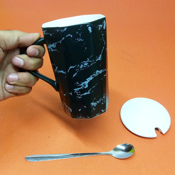 Ceramic Imported Quality Texture Mug With Ceramic Lid & Steel Spoon