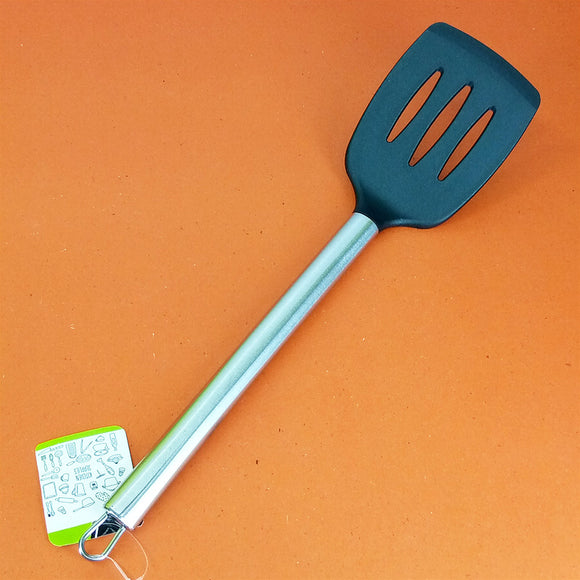 Non-Stick Plastic Medium-Size Flat Spatula With Stainless Steel Handle