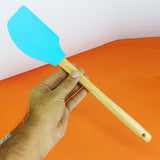 Silicon Heavy-Duty Kitchen Spatula With Wooden Handle ( Mix Random Colors)