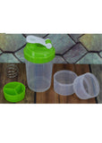 Green Transparent Plastic Sports Gym Shaker Bottle With Spring