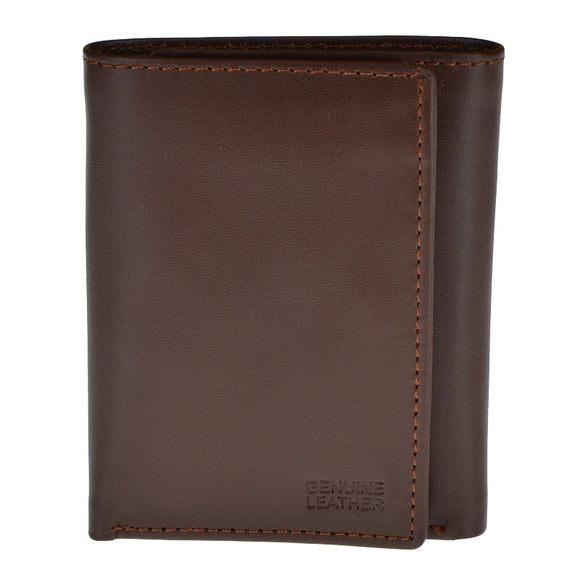 Genuine Leather Dark Brown Tri-Fold Wallet For Men