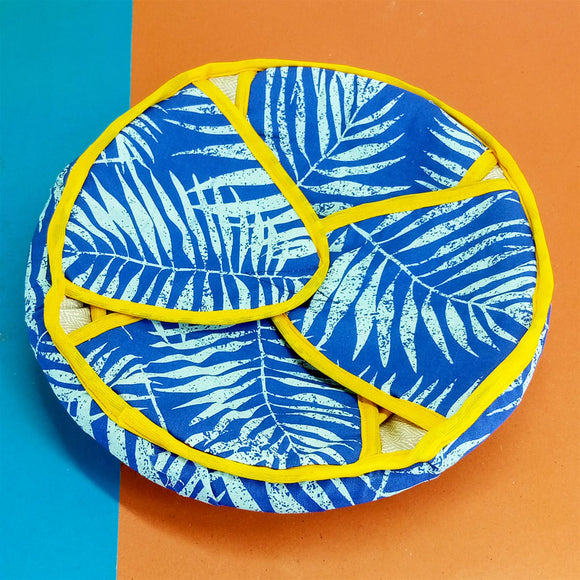 Round 12 inches Roti Plate With Top Cover & Cloth Piece ( Random Color )