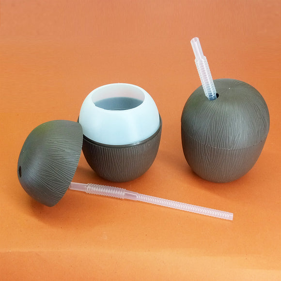 Coconut Shape Kid's 350ml Plastic Cute Straw Glass