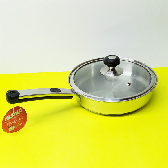Alpha Stainless Steel Heavy Duty 24cm Frying Pan With Glass Lid