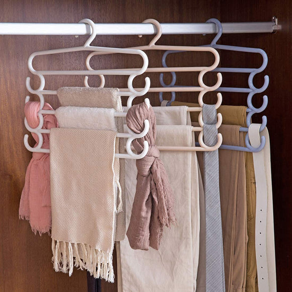 Pack Of 2pcs Multi-Purpose 5-Layer Heavy-Duty Quality Plastic Scarf & Dupata Organizing Hanger ( Random Colors )