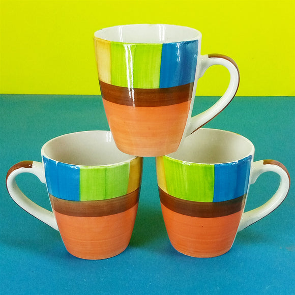 Pack Of 6pcs Medium Size Multi-Color Daily Use Ceramic Cups