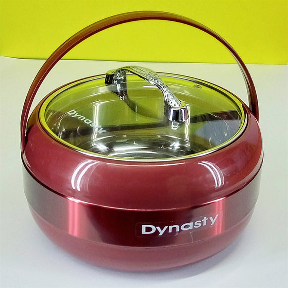 Dynasty Large-Size Stainless Steel Roti Hot-Pot With Glass Lid