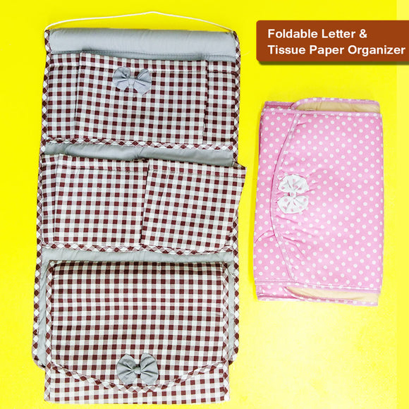 Multi-Purpose Foldable Letters & Tissue Box Organizer