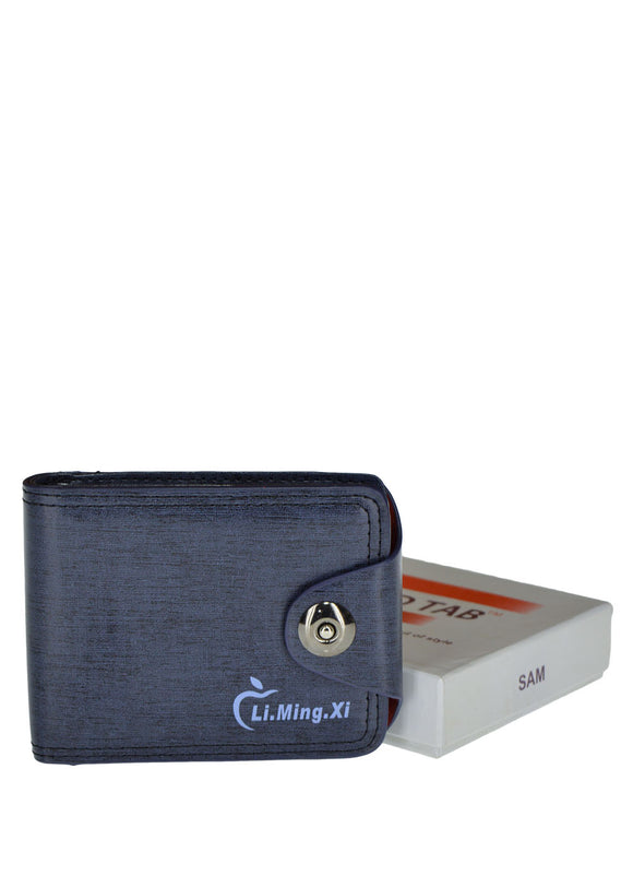 Li.Ming.Zi Front Button Leather Wallet For Men