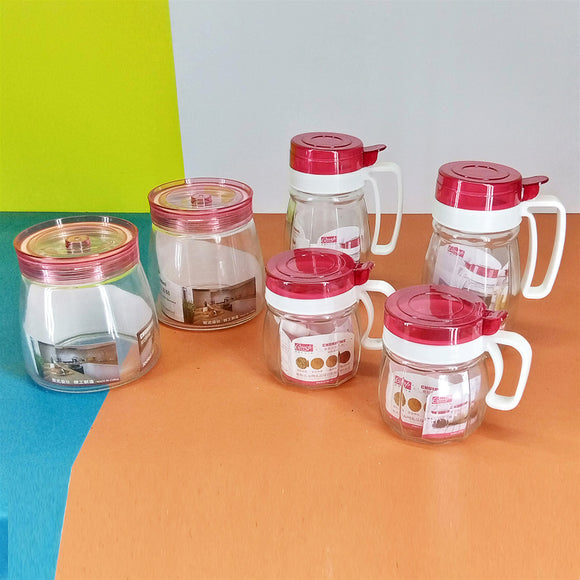 Pack Of 6 Pcs Glass Canister, Soup & Jar Set