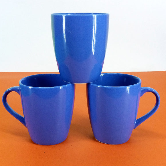 Pack Of 6 Medium Size Shiny Blue Daily Use Ceramic Cups
