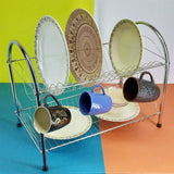Silver Coated Metal 2-Layer Dishes & Plates Organizing Rack