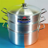 Sonex Glaxy 32cm Extra-Large Size 3-Layer  Silver ( Jist ) Steamer Pot With Lid