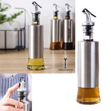 Kitchen Oil & Vinegar 250ml Glass Bottle With Steel Cover Body