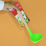 Non-Stick Silicon Spatula With Wooden Bamboo Handle