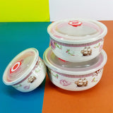 Fresh 3Pcs Ceramic Medium-Size Bowl Set With Plastic Airtight Lid ( Random Colors )