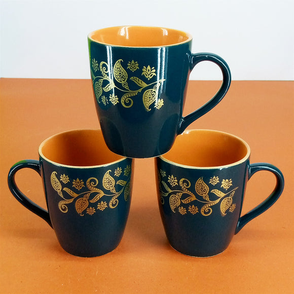 Pack Of 6pcs Daily Use Medium Size Ceramic Cups Set ( Green Flower )