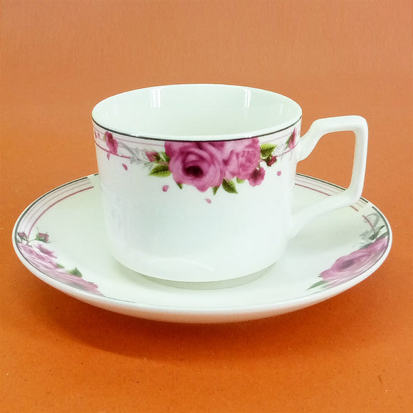 6 Pcs Ceramic Bone China Cup & Saucer Set