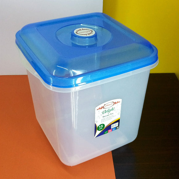 Phoenix Delight Transparent Plastic 15-Liters Square Food Storage Box With Wheels