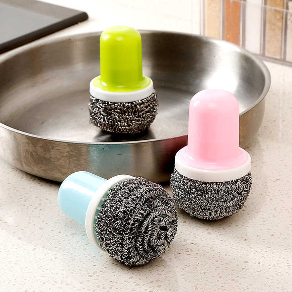 Dish-Washing Removable Stainless Steel Wire Sponge Holder