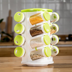 Rotating Spice Carousel 16 Plastic Jars With Plastic Stand