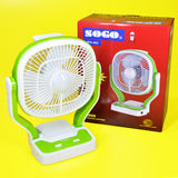 Sogo JPN-403 Portable Rechargeable Table Fan With LED Lamp Light