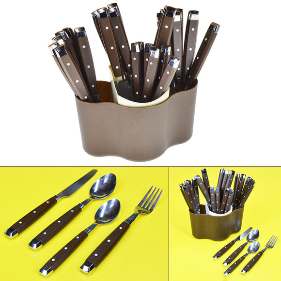 24pcs Spoons, Knives & Forks Stainless Steel Cutlery Set With Plastic Stand