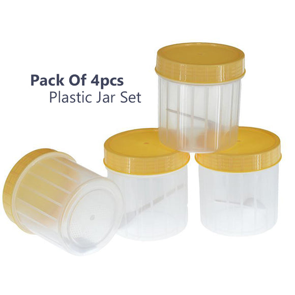 Pack Of 4pcs Small Plastic Jars With Spoons ( Random Colors )